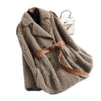 Winter Damen Wolle Erbsenmantel Anzugkragen Gürtel Zweireihig Warm Slim Jacke L