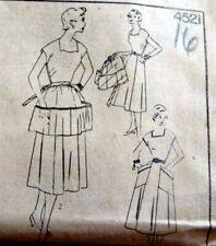 *LOVELY VTG 1950s DRESS & APRON Simplicity Sewing Pattern 16/34