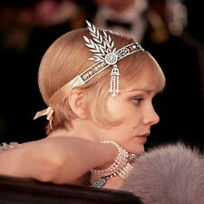 CW01 The Great Gatsby Inspired 1920 Hair Pieces Tiara Crown Flower Clear Crystal