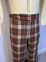 Vtg 60s 70s LORD JEFF Dress Pants WOOL Plaid Leisure Suit Disco Mens 36 x 31.5