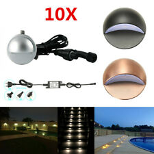 10pcs/set 12V Half Moon Outdoor Garden Stair Path Flat In LED Deck Step Lights