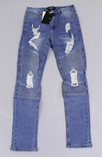 boohoo Men's Super Skinny Biker Jeans With Extreme Rips SV3 Blue Size 30S NWT