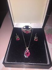 Kay Jewelers Lab-Created Pink Sapphire Box Set with Diamonds Sterling Silver