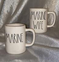 "NEW Rae Dunn USA Military ""MARINE"" & MARINE WIFE""  LL Mug Set by Magenta"