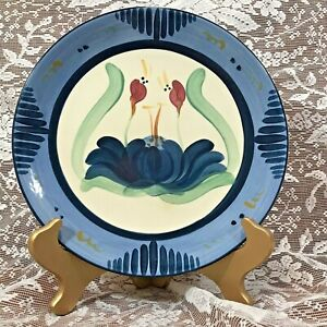 "GAIL PITTMAN POTTERY 10"" DINNER PLATE OVERSTREET SIGNED 1988 Highly Collectible"