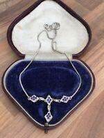 "Vintage Italian 16.25"" Marked Sterling Silver Blue Enamel & Paste Necklace 6gr"