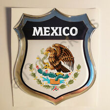 Sticker Mexico Emblem Coat of Arms Shield 3D Resin Domed Gel Vinyl Decal Car