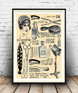 Hairdressing advert  Vintage  Hair care advertising poster reproduction.