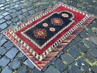 Mini Area rug, Turkish, Vintage, Handmade rug, Wool, Bohemian   2,3 x 3,7 ft