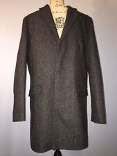 NEW EXPRESS MEN'S L Large Brown Topcoat JACKET Lined Dress COAT Recycled Wool