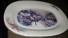 "Thomas Kinkade Village Christmas Scene platter 2000 12-3/4"" x 9.25 Gold trimmed"