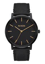 Nixon Porter Leather A1058-1031 Black / Black Leather Analog Quartz Women's Wat