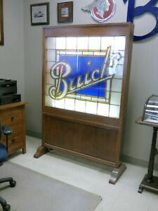 1914 BUICK Dealer Stained Glass Display Buick Sign Window Lighted
