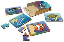 Tuzzles Sealife Wooden Puzzle Set (8) FS15X20-003 Made in Australia