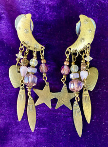 Brass Star Embossed Crescent Moon Bead Crystal Feather Heart Dangle Earrings
