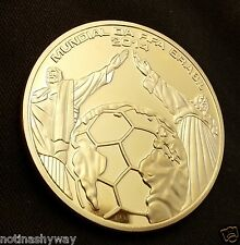 WORLD CUP Gold Coin Brazil Flag Football Soccer Sport Medal Olympics Man U C USA
