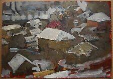 Russian Ukrainian Soviet oil painting Cityscape realism impressionism winter