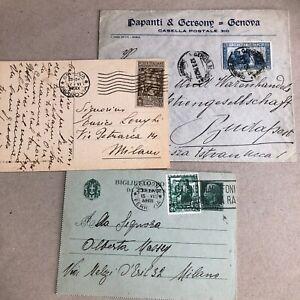 R) Lotto n. 3 pezzi Regno con commemorativi di cui un intero postale