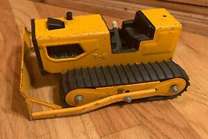 "Vintage Tonka T-6 Bulldozer Track Dozer ORANGE Pressed Steel 9"" Long 41240"