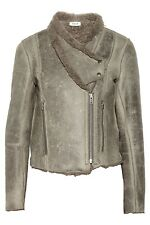 Helmut Lang Weathered Leather Shearling Fur Jacket Coat NWT New P Petite XS S