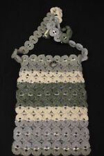 HANDMADE Soda-Pop-Top/Tabs & Crochet Shoulder Bag, Blue, Green & Ivory (B3)