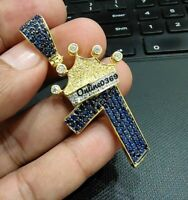 Details about  /1.88 ct Round Simulated Diamond Men Customized Initial Letter Crown Pendant