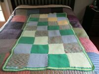 """Handmade Crafted Knitted QUILT Blanket 53""""x29"""" OOAK Wellwood Resource Center"""