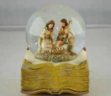 Guilded Goldtone Holy Family 100Mm 6 Inch Musical Glitterdome