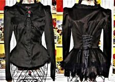 Betsey Johnson Dress Jacket BUSTLE BACK Black CORSET Lace Up VICTORIAN Coat 2 S