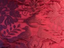 BY YARD SCALAMANDRE 100%SILK LOVEBIRD SPECIAL RED PINK IRIDESCENT MSRP $484/Y