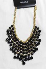 Black Bead Bib Necklace Gold-tone Adjustable Chain by Gabrielle K