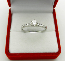 Engagement 18k White Gold Genuine Solitaire Diamond 0.45 tcw with Accent Ring