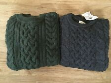 Traditional 100% Wool Aran Crew Neck Jumper Cable Knit Made in England