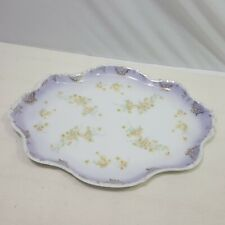 Austria Karlsbad Vanity Tray Purple Yellow Gold Floral Oval Scallop Edge Vintage