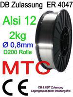 AlSi 12 MTC MT- AlSi12 3.2585 Aluminium Schweißdraht Alu 0,8mm 2kg MIG MAG Draht