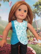 "homemade 18"" american girl/madame alexander blue flower shirt/top doll clothes"