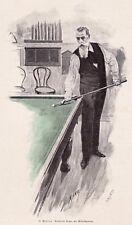 Billard - Reinhold Begas als Billardspieler - Stich um 1898