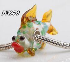 1pcs SILVER MURANO GLASS BEAD LAMPWORK Animal European Charm Bracelet DW259