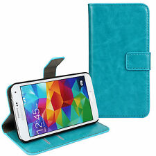 Turquoise Genuine Leather Card Money Wallet Case Cover for Samsung Galaxy S5