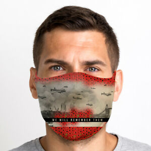 We Will Remember Them 1 One Size Reusable Washable Breathable Face Mask From UK