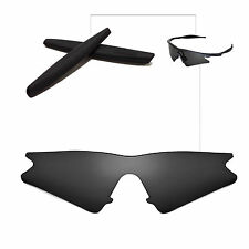 Walleva Polarized Black Replacement Lenses+Earsocks For Oakley M Frame Sweep