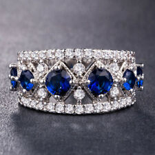 Gorgeous Women Wedding Ring 925 Silver Jewelry Round Cut Blue Sapphire Size 9