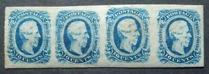 Confederate Scott #12 Strip of 4, Mint Original Gum (LH), VF, Fresh