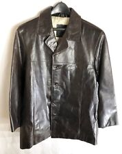 Man's Classic 4 Button Dr. Brown Leather Blazer, Rogue, Size Small, Fully Lined