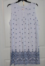 Croft and Barrow Cotton Blend Sleeveless Soft White Navy Blue Nightgown 4X NWT