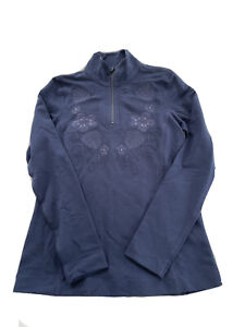 Tommy Bahama Jen & Terry Floral 1/2 Zip Pullover Womens XS Embroidered Blue $135