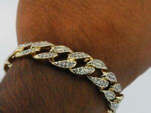 "14K Yellow Gold Plated Hip Hop Cubic Zirconia 8.5"" Miami Cuban Link Bracelet"
