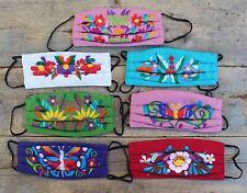 Face Mask 7 Color Combinations Machine Embroidered Reusable Cotton Puebla Mexico