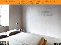Porta Filomuro rasomuro 80 x 240 con serratura INVISIBILE