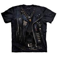 Punk Rock Leather Jacket Biker Harley Skull T Shirt The Mountain FUNNELWEB Tee